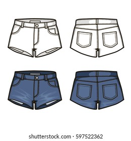 Blank templates of women's denim shorts in front and back views. Isolated on white. Casual style. Vector illustration for your fashion design.