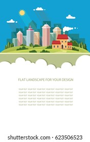 Blank for text. Country house on background. city with contemporary buildings Flat graphic landscape with skyscrapers. Vector icon for design