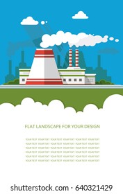 Blank for text. nuclear power plant, Factory, station. Flat graphic landscape with industry. Vector illustration for design