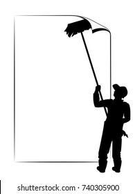 Blank Text Space. Vector Illustration Of A Worker Silhouette Hanging A Poster On A Wall With His Brush As Blank Text Space.