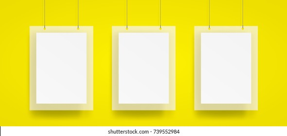 Blank Three hanging poster and frame with wire mockup vector on yellow background. Mockup concept