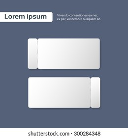 Blank Ticket Paper Sheet Cut Line, Empty Page Vector illustration