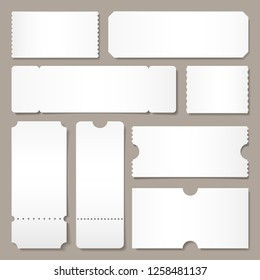 Blank ticket template. Festival concert tickets, white paper coupon card layout and cinema admit one sheet. Event, theater or lottery tickets isolated vector symbols mockup