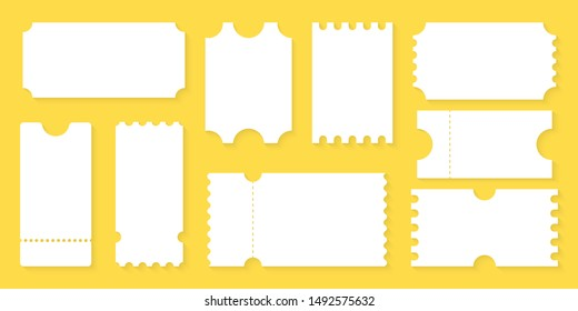 Blank Tickets design for Airplane, train, bus, Cinema, party, circus, festival or concert. Empty ticket template. Coupon mockup, empty blank Tickets.