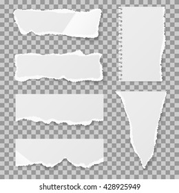Blank torn paper with bends and tears. Ripped sheet paper and reminder lacerated paper blank. Vector illustration set