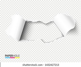 Blank torn paper hole with bent rip edges on empty bacground for sale promo. Teared cardboard reveal your message vector concept