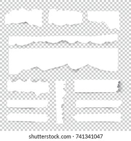 Blank Torn paper sheets. Vector note pieces collection with sticky tape