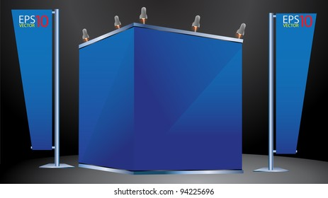 Blank trade exhibition stand and banner stand. vector template for design work