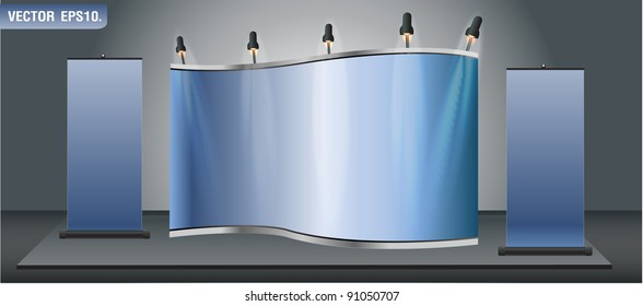 Blank trade exhibition stand display and roll up banner. vector template for design work