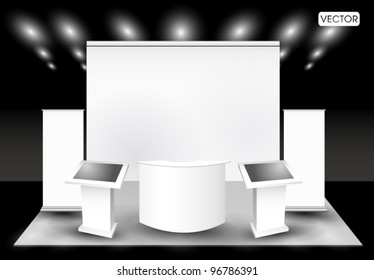 Blank trade exhibition stand and  lcd monitor
