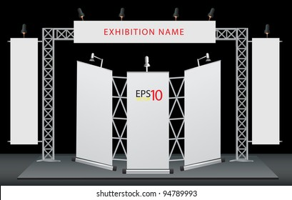 Blank trade exhibition stand and roll up banner. vector template for design work