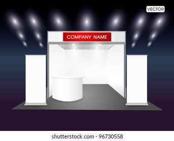 Blank trade exhibition stand and roll up banner