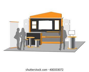 Blank trade exhibition stand, vector