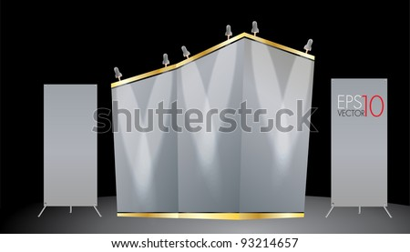 Trade Exhibition Stand Vector : Grand exhibition stand display mock up isolated white background