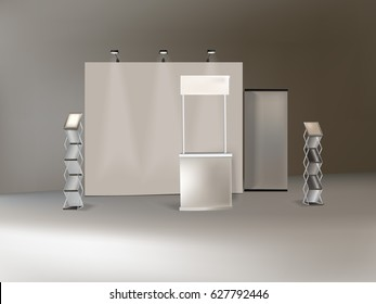blank trade show booth for designers 3D rendering vector