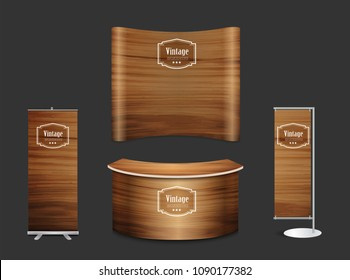 Blank trade show booth exhibition stand design mock up. Front view with wood texture background, Vector illustration layout template display for design work