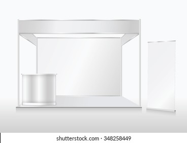 Blank trade show booth mock up. Front view. Vector isolated on white background.ai