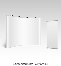 Blank trade show booth mock up. Front view. Vector isolated on grey background