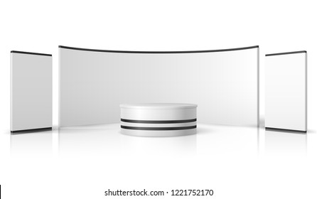 Blank trade show booth. White empty exhibition stand, retail promotional display vector 3d mockup