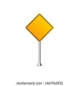 Blank traffic road sign, Blank board with place for text, yellow isolated on white background, vector illustration.