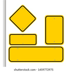 Blank traffic road sign set, empty street signs, yellow isolated on white background, vector illustration.