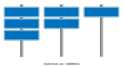 Blank traffic road sign set, empty street signs, blue isolated on white background, vector illustration.