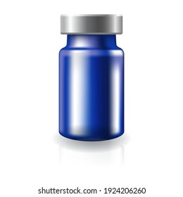 Blank transparent blue glass medical vaccine vial with silver metal cap mockup template. Isolated on white background with shadow. Ready to use for your design or business. Vector illustration.