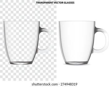 Blank transparent glass cup, isolated on white. Vector illustration