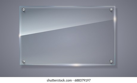 Blank, transparent vector glass plate. Vector template, horizontal banner with copy-space. Photo realistic texture with highlights and glow on the background. See through the plastic, 3D illustration.