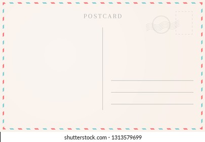 Blank travel card illustration. Postcard border template.