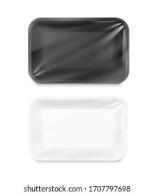 Blank and blank tray mockup container. Top view. Vector illustration isolated on white background. Template ready for your design. EPS10.