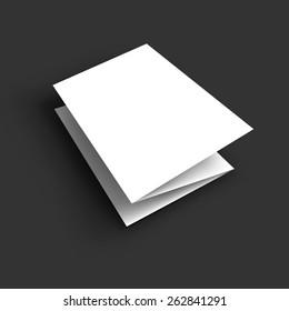 Blank tri fold paper brochure mockup. Vector Illustration EPS10.