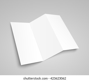 Blank trifold paper brochure mockup