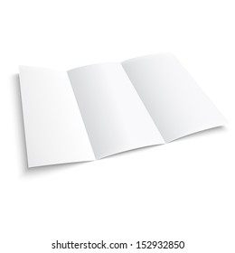 Blank trifold paper brochure. on white background with soft shadows. Z-folded. Vector illustration. EPS10.