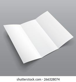 Blank Trifold Paper Brochure With Shadows. On Gray Background Isolated. Mock Up Template Ready For Your Design. Vector EPS10