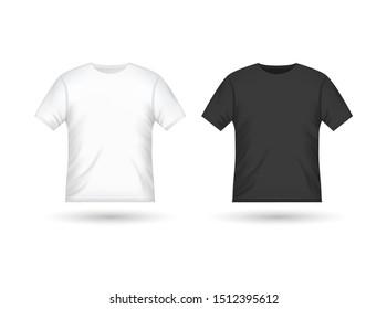 Blank tshirt design template black and white. Isolated t-shirt men unisex mockup.