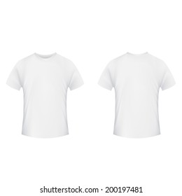 Blank T Shirt Template Front And Back Side On A White Background
