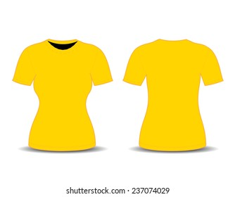 Blank T Shirt Template Front And Back Views Vector Illustration