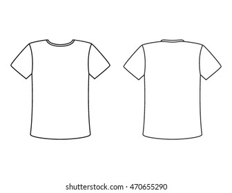 Blank Tshirt Template Front Back Stock Vector Shutterstock - Blank tshirt template