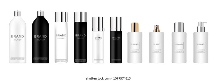 Blank tube cosmetic package set isolated on white background.  Tube for foam, hair spray, deodorant. Realistic mockup tools, mock up vector illustration.