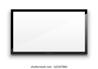 Blank tv screen. White empty vector monitor isolated on white.