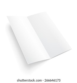 Blank Two-fold Trifold Paper Brochure With Shadows. On White Background Isolated. Mock Up Template Ready For Your Design. Vector EPS10