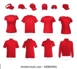 Blank uniform set: polo shirts, t-shirts, hoodie and caps.