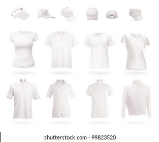 Blank uniform template: polo shirts, t-shirts, hoodie and caps.
