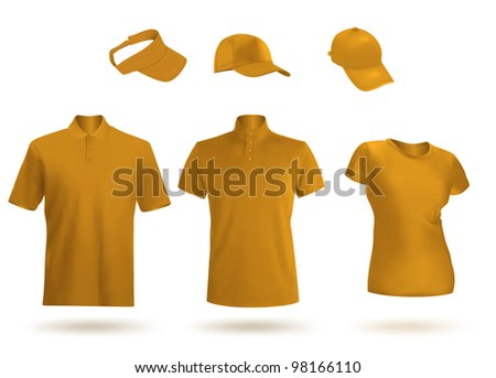 2b7ab762a Blank unisex uniform template: polo, t-shirt, visor and baseball caps. -  Vector