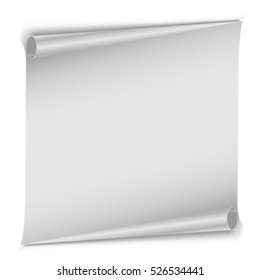 Blank unrolled white paper scroll isolated on white background. Clean page with rolled edges vector template with copy space.