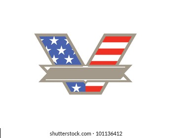 """Blank """"V"""" Banner with American Flag on White Background to represent VOTE or Veteran's Day. Ready for your text!"""