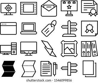 blank vector icon set such as: text, write, advertise, graphics, media, window, pencil, pen, localization, envelope, nature, shop, target, network, photograph, album, strip, destination, 35mm