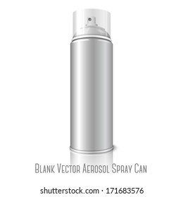 Blank vector realistic aerosol spray metal 3D bottle can with transparent cap isolated on white background with reflection. For design of the paint, graffiti, deodorant, foam, cosmetics etc.
