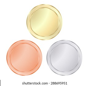 blank vector templates for coin, price tags, buttons, sewing, buttons, badges or medals of gold, silver, bronze with concentric circles on the shiny metal texture